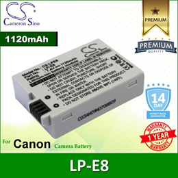 CameronSino Battery for Canon LP-E8 / Canon EF-S / EOS 600D 650D Battery 1120mah CA-LPE8