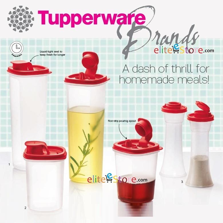 TUPPERWARE Stor N Pour 3in1 Set: Liquid tight Smart Saver Round Salt N Spice Pepper