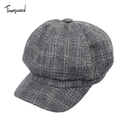 New England Style Unisex Newsboy Caps Cotton Berets Baker Boy Hat Men Women  Casual Grid Plaid f72d5540eec