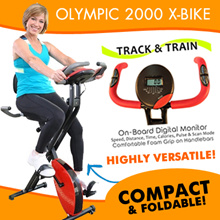 FlexiMuscle Deluxe Pro Foldable Magnetic Exercise Bike with Heart Rate Monitor and Backrest