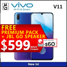 VIVO V11 6/128GB. In-Screen Fingerprint Unlock.2 Years Warranty by VIVO Singapore. Freebies included