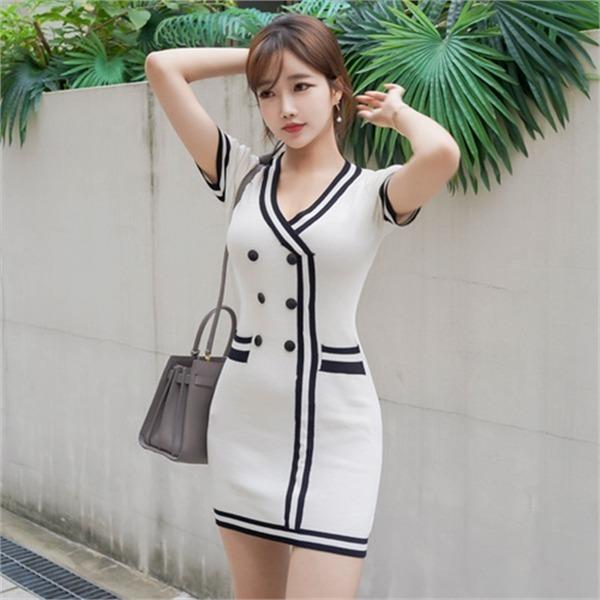 1571ココ配色ラインワンピースnew ニットワンピース/ワンピース/韓国ファッション