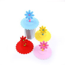 Silicone Cute Anti-dust Sunflower Cup Cover Coffee Airtight Suction Lid Cup Cap