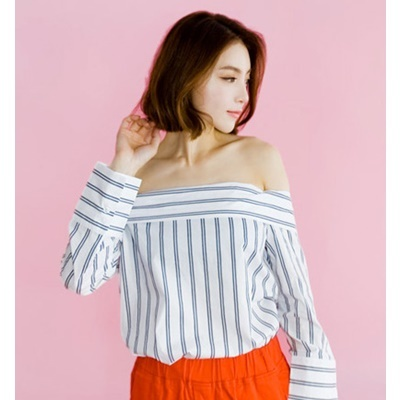 13. off shoulder stripe blouse - white - free
