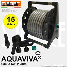 Claber 8955 Aquaviva® Garden Hose Reel Set 15m/20m/30m Made in Italy
