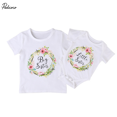 0a4f258f1 Family Clothing Set Baby Kids Girls New Little Big Sister Short Sleeve  Clothes Jumpsuit Romper