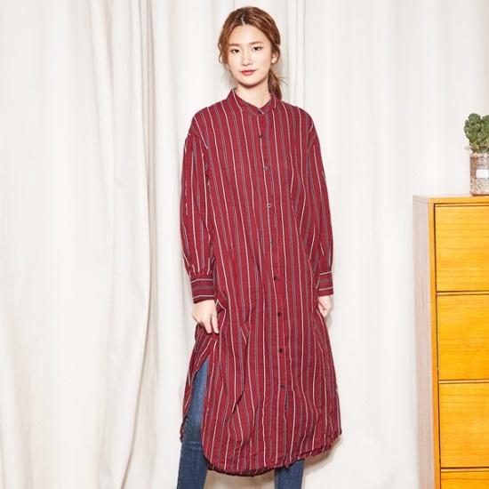 ナインNAIN・ストライプロングシャツ、ワンピースOP3480 面ワンピース/ 韓国ファッション