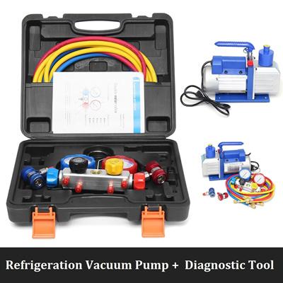 Refrigeration 4 8 CFM Vacuum Pump AC A/C Diagnostic Manifold Gauge for  Automotive Household Air cond