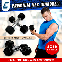 Brand New Premium Rubber Coated Hex Dumbbell with Contoured Chrome Handle. 1KG to 10KG.