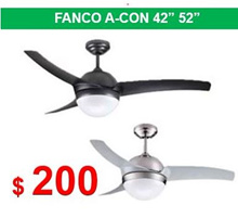 Fanco A-CON 42 52 inches Ceiling Fan 3 ABS Blade 2 x E27 Light Kit / TRI Colour 24w LED Panel