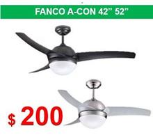 Fanco A-CON 42 52 inches Ceiling Fan 3 ABS Blade 2 x E27 Light Kit / TRI Colour 24w LED Panel