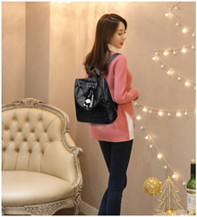 BEST SELLER - Backpack wanita import free boneka gantung / shoulder bag - 2 Colour - READY STOCK