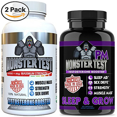 Angry Supplements Testosterone Booster for Men (2 Pack), Monster Test (120  Tablets), Monster PM (