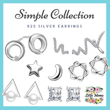 LITTLE MOMO 🎀 925 SILVER EARRINGS ANTI-ALLERGY 🎀 SIMPLE DESIGNS