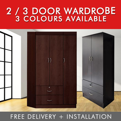 [Furniture Specialist] MODERN LIVING 2/3 DOOR WARDROBE / FREE DELIVERY Deals for only S$199 instead of S$0