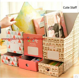 SG 2/set Korea creative desktop A4 file drawer storage box finishing rack thicker paper books