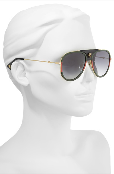c396938ef1a Qoo10 - GUCCI 57mm Metal Aviator Sunglasses   Fashion Accessories