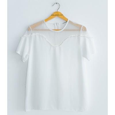14. net detail blouse - white - free