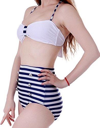 8d34342cec HDE Women High Waist Swimsuit Retro Bikini Vintage 50s Pinup Girl Bathing  Suit-dfsfs34