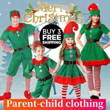 【Buy 3 free shipping!!!】Christmas costume childrens cosplay parent-child costume festival adult gift