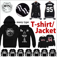 BTS TEAM T-shirts /BTS Bangtan Boys baseball long sleeve jacket hoody/ LL269Women Men concert wear c