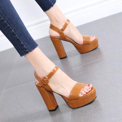 replicas huge discount reputable site Summer thick high heel shoes European sexy word buckle high heels