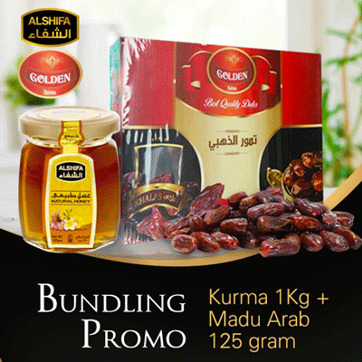 PROMO BUNDLING RAMADHAN ..Kurma Golden Best Quality 1KG+Madu Arab Al Shifa / Alshifa / Al-Shifa 125 Deals for only Rp93.000 instead of Rp93.000