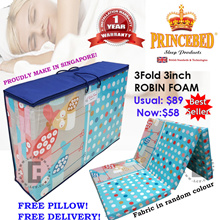 ★PRINCEBED/SLEEPYNIGHT★FOLDABLE FOAM MATTRESS!FREE DELIVERY ★SINGLE★FOLDING★PORTABLE★FREE PILLOW★