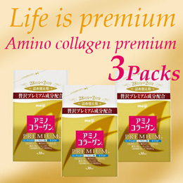 1+1+1★Free Shipping★MEIJI 3 x Premium Amino Collagen Refill 214g!!