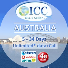 ◆ ICC◆【Australia Sim Card 】Local Plan❤ 4GLTE+Call/SMS❤Up to 55GB 4GLTE data❤Unlimited data*❤Telstra