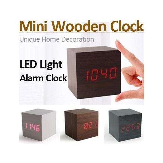 Qoo10 Fashion Convenient Digital Wooden Clock Led Light Unique Alarm Cloc Furniture Deco