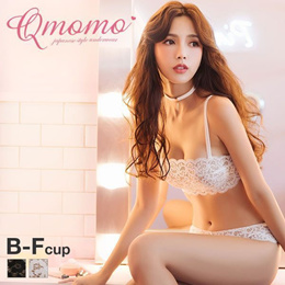 Qmomo Strapless Lace 1/2 Cup Bra and Panty Set (With Optional Straps, Sizes B-F)(A57Q1705037)