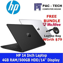 [Brand New] HP Laptop/Intel Processor/4GB RAM/500GB HDD/14 Inch/DVD RW/2 Colours/1 Year HP Warranty|