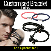♥Customized Bracelet♥KOREAN 2018 UNISEX Trending Anchor Woven PU Trending COUPLE Leather Bracelet!