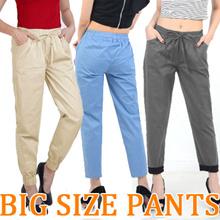 PLUS SIZE PANTS - BIGSIZE FIT TO XL-XXL / jogger / drawstring / basic / stick