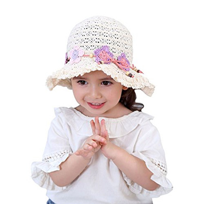 HUIXIANG  Toddler Baby Girl Sun Hat with Chin Strap 50+ SPF UV Protective 2f45b4dd758