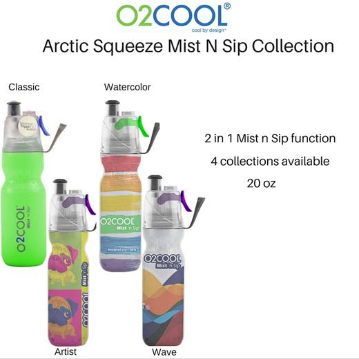 Puppy O2COOL Mist/'n Sip ArcticSqueeze Classic Pug Dog Watercolor Bottle 20oz