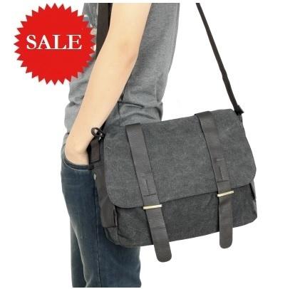?SALE? Mens Messenger Shoulder Bag / Vintage Canvas travel Sling Students School Briefcase Work Deals for only S$30 instead of S$0