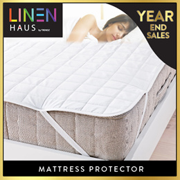 Linen Haus Mattress Protector  Deep Pocket Double Sided Fitted Mattress Protector