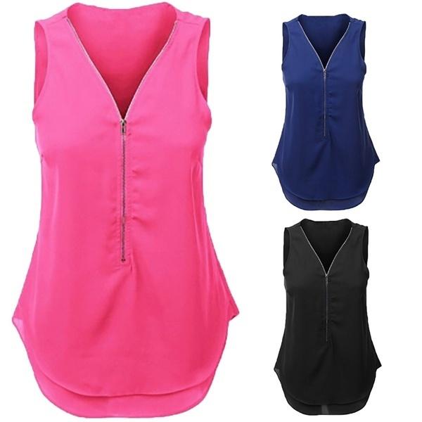 女性のセクシーなジッパーVネックノースリーブシャツレディースファッションソリッドチュニックタンクトップ