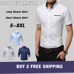 2019 Buy 2 Free Shipping Men Business Top Shirts Shorts Sleeve Fashion Casual Blouse