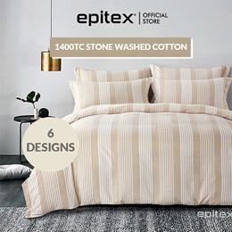 Epitex Urutora 1400TC Stonewashed Cotton Yarn-Dyed Bedsheet   6 Colours   Fitted Sheet Set   Bedding