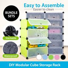 (Stackable Storage Rack) DIY Modular Cube Storage Rack Shelf Wardrobe/Box Dust/Cover Door Shoe Rack