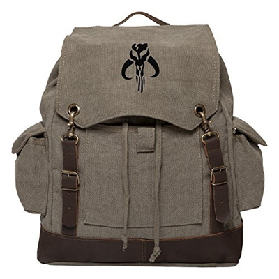 2f301796b (Grab A Smile) Star Wars Mandalorian Skull Boba Fett Canvas Rucksack  Backpack w/