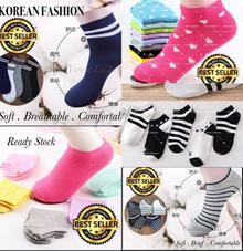 **Ready Stock**  VIRENE 5 Design 15 in 1 Shipping*Korean Fashion Cotton Socks Ankle Invisible Sock