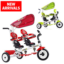 ★Twin Double Seats Trike Tricycle ★  2 Children Tricycle Bicycle for kids/ kids Bike Trike Tricycle