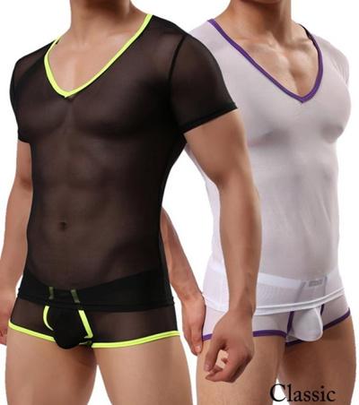 66ba9615c533c Sexy Men Transparent Mesh Net Shirts Sexy Underwear Gym Tank Tops Night  Club Erotic Lingerie Mens