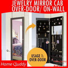 Cosmetic Jewelry CABINET DUAL Usage Over-Door/On-Wall [less perfect]/ mirror/ organizer ★ SG