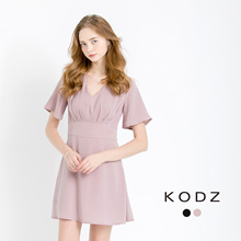 KODZ - V Neck Dress with 3/4 Sleeves-170574
