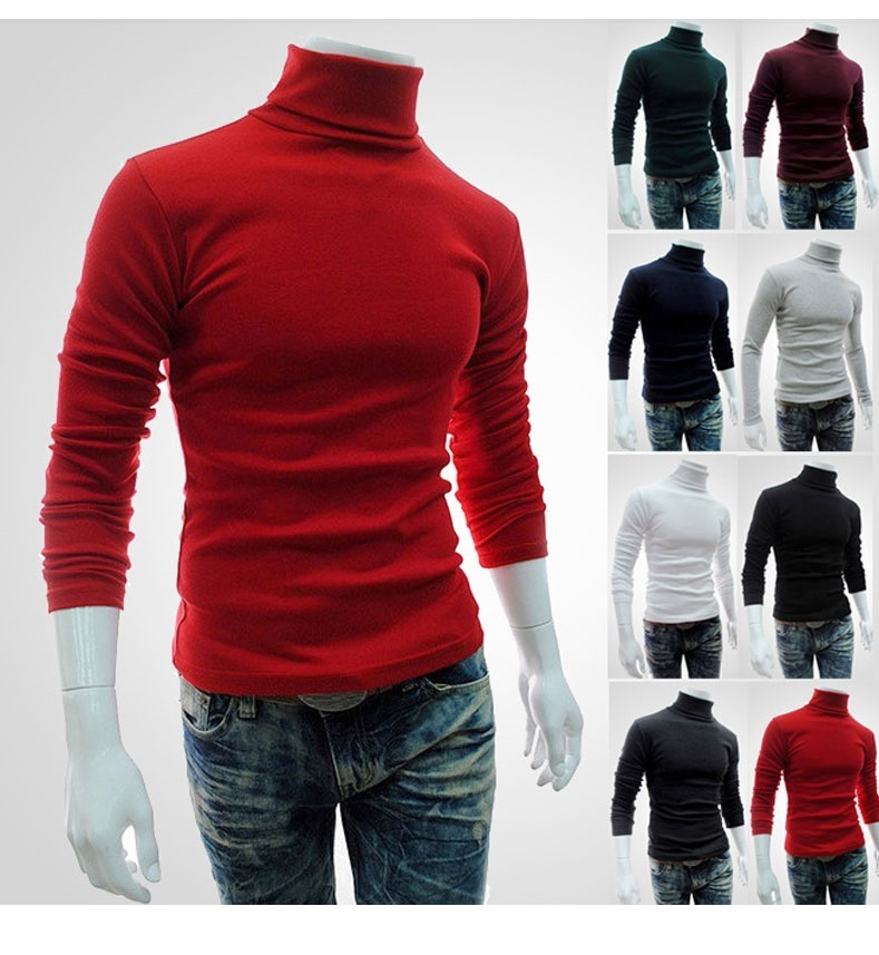 dfd42e05aa Padded men s Turtleneck long sleeve t shirt solid colors for fall/winter  knitting men s shirts at th